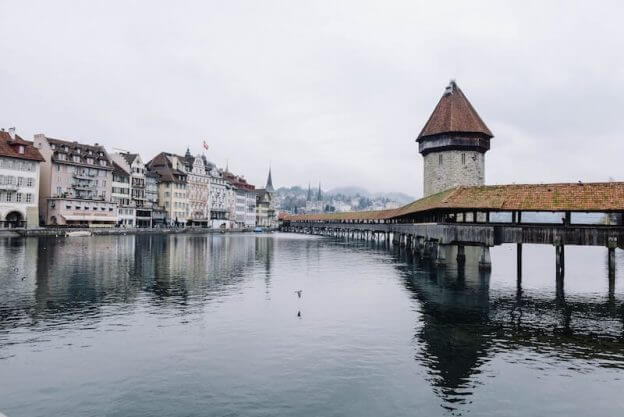 A picture of the city Lucerne with the famous Chapel Bridge